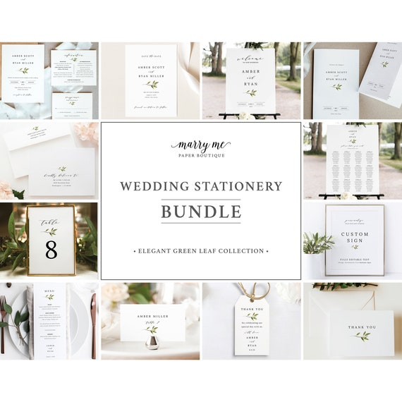 Greenery Wedding Template Bundle, Green Leaf, Wedding Template Kit, Templett Editable, Wedding Bundle Templates, Instant Download