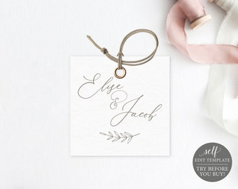 Square Tag Template, Free Demo Available, Editable Instant Download, Elegant Font