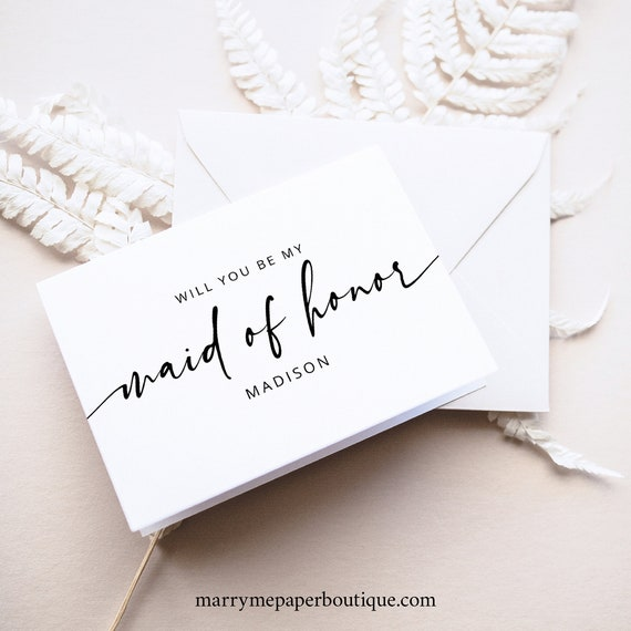 Maid of Honor Card Template, Modern Calligraphy, Will You Be My Maid Of Honor Proposal Card, Printable, Editable, Templett INSTANT Download