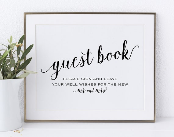 Guest Book Sign, Please Sign our Guest Book, Guest Book Printable, Mr & Mrs Sign, Wedding Printable Sign, DIY, PDF Instant Download, MM01-1