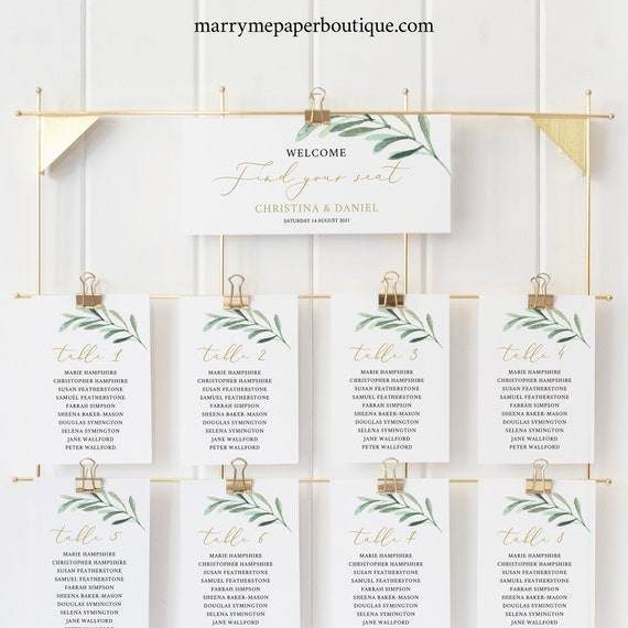 Wedding Seating Chart Sign Template, Greenery Leaf, Editable Instant Download, TRY BEFORE You BUY