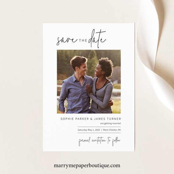 Save the Date Card Template, Editable & Printable, Templett Instant Download, Try Before Purchase, Elegant Minimalist
