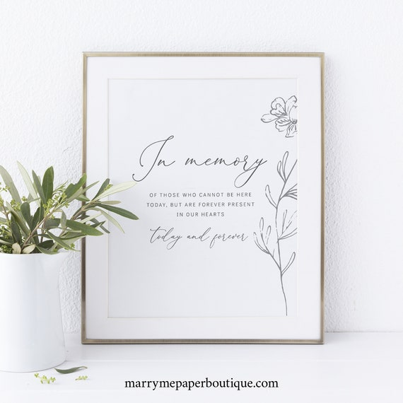 In Memory Sign Template, Non-Editable Instant Download, Botanical Floral