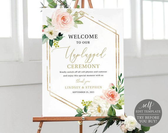 Unplugged Ceremony Sign Template, Floral Hexagonal, Editable Instant Download, TRY BEFORE You BUY