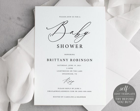 Baby Shower Invitation Template, Free Demo Available, Editable Instant Download, Stylish Script