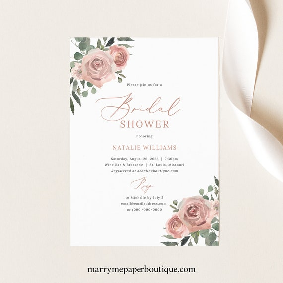 Bridal Shower Invitation Template, Dusky Pink Floral, Bridal Shower Invite, Printable, Dusty Pink, Templett INSTANT Download, Editable