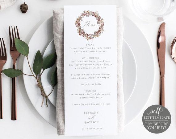 Menu Template, TRY BEFORE You BUY, 100% Editable Wedding Menu Printable, Instant Download