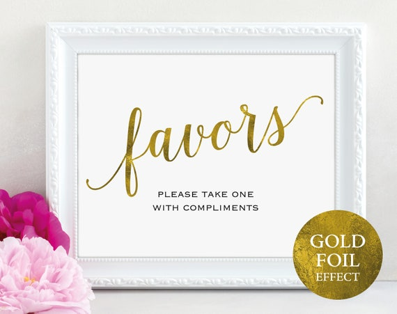 Gold Wedding Favor Sign, Please Take One, Favors Sign, Favor Printable, Wedding Printable, Wedding Template, PDF Instant Download, MM01-3