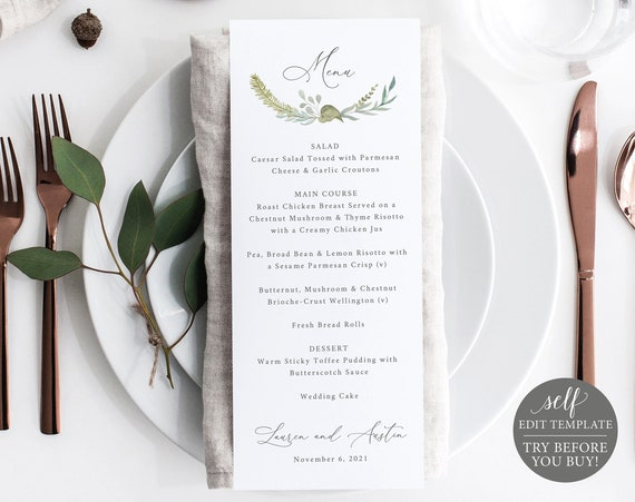 Wedding Menu Template, Greenery & Blue, TRY BEFORE You BUY, Editable Instant Download