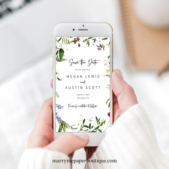 Save the Date Text Invitation Template, Summer Garden Greenery, Digital Save the Date Invite, Electronic, Templett INSTANT Download