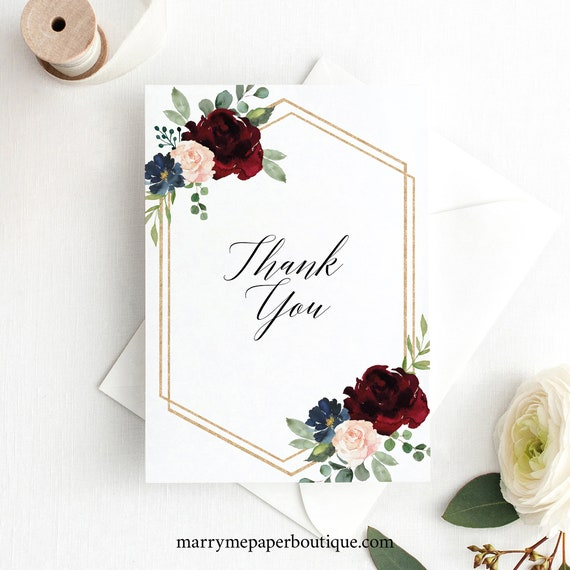 Thank You Card Template Folded, Editable & Printable Instant Download, Templett, Burgundy Navy