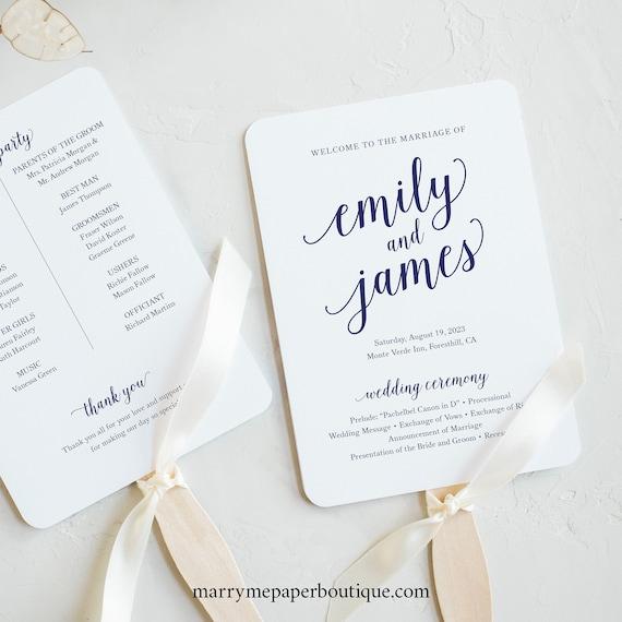 Wedding Program Fan Template, Navy Script Font, Wedding Ceremony Fan Program, Printable, Editable, Templett INSTANT Download