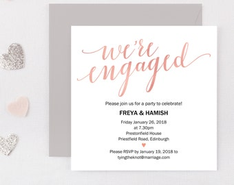 Engagement Party Invitation, Engagement Party Invite,  Engaged Announcement, Printable Invitation, Editable PDF, Engagement Printable, Blush