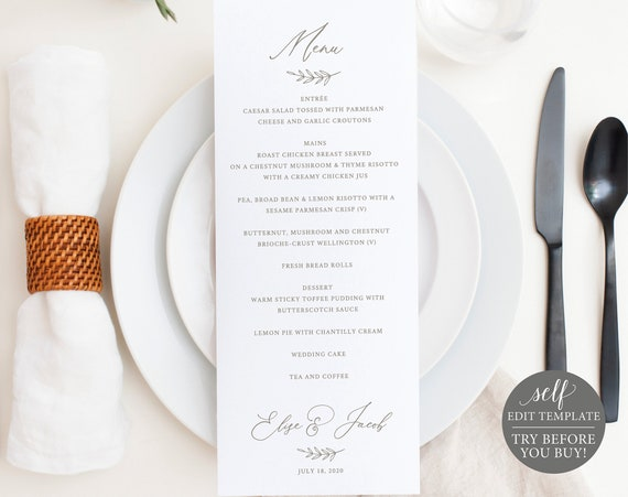 Wedding Menu Template, Instant Download, Dinner Menu Card Printable, TRY Before You BUY, 100% Editable Font, Colors & Background