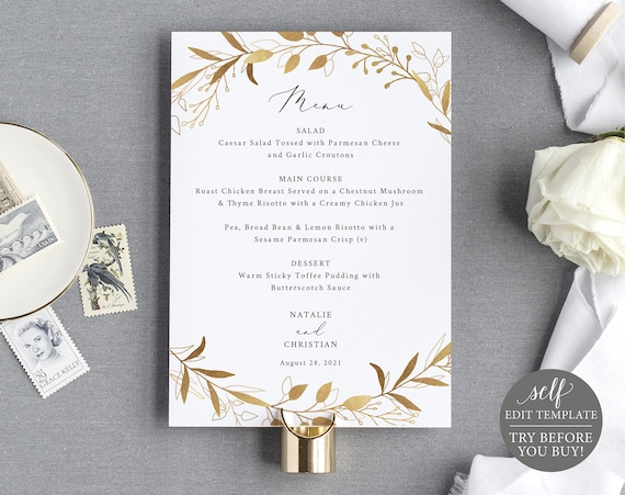 Wedding Menu Template, Gold Wreath, TRY BEFORE You BUY, 100% Editable Instant Download