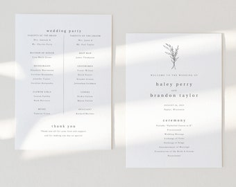 Wedding Ceremony Program Template, Modern Rustic Wedding Program, Printable, Elegant, Fully Editable, Templett INSTANT Download