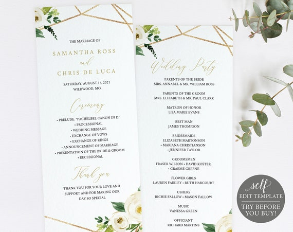 Wedding Program Template, White Floral Geometric, TRY BEFORE You BUY, Editable Instant Download