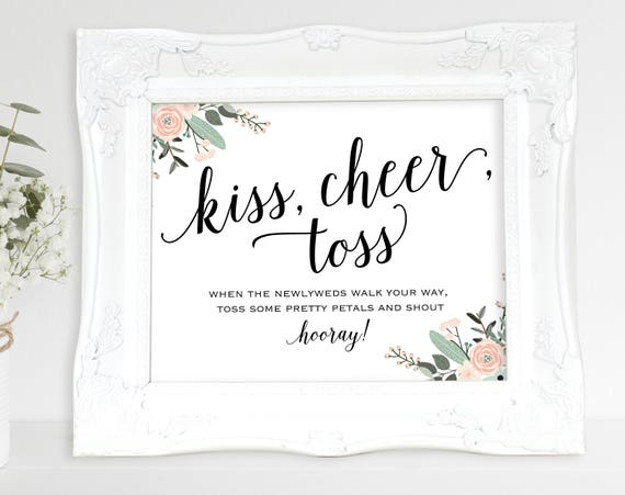 Floral Confetti Sign, Toss Petals Sign, Flower Confetti Sign, Kiss Cheer Toss, Wedding Sign, Wedding Printable, PDF Instant Download, MM01-6