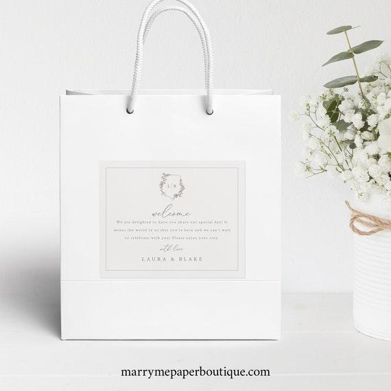 Wedding Welcome Bag Label Template, Botanical Wedding Crest, Hotel Guest Bag Label, Printable, Wedding Monogram, Templett INSTANT Download