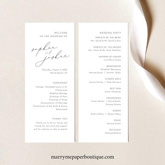 Wedding Program Template, Luxury Calligraphy, Elegant Wedding Ceremony Program, Printable, Editable, Tall Program, Templett INSTANT Download