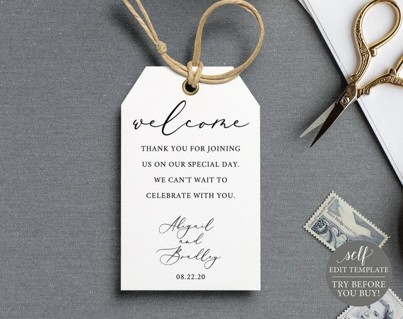 Welcome Tag Template, TRY BEFORE You BUY, 100% Editable Instant Download, Elegant Calligraphy