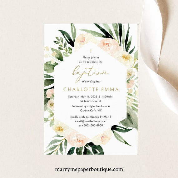 Baptism Invitation Template, Blush Ivory Greenery, Try Before You Buy, Templett Instant Download, Fully Editable Printable