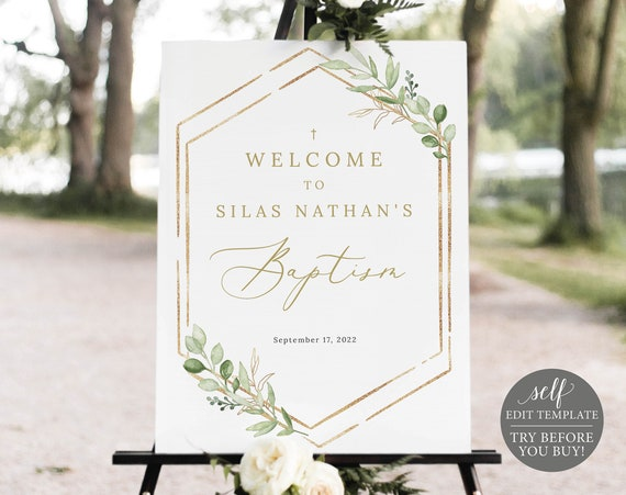 Baptism Welcome Sign Template, Greenery Hexagonal, Editable & Printable Instant Download, TRY BEFORE You Buy, Templett