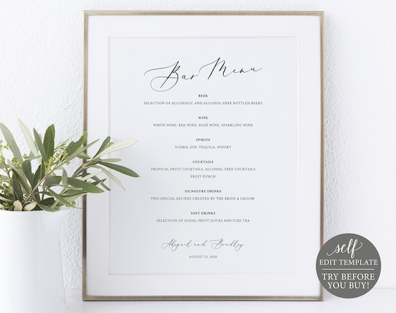 Bar Menu Sign Template 8x10, TRY BEFORE You BUY, Editable Instant Download, Elegant Script