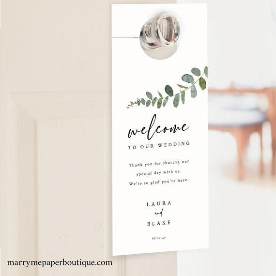 Door Hanger Template, Eucalyptus Greenery, Wedding Door Hanger Printable, Templett INSTANT Download, Editable