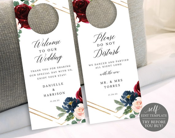Wedding Door Hanger Template, Burgundy Navy, Demo Available, Editable & Printable Instant Download