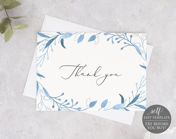 Thank You Card Template, Blue Foliage, 5x7, Order Edit & Download In Minutes, Try Before Purchase