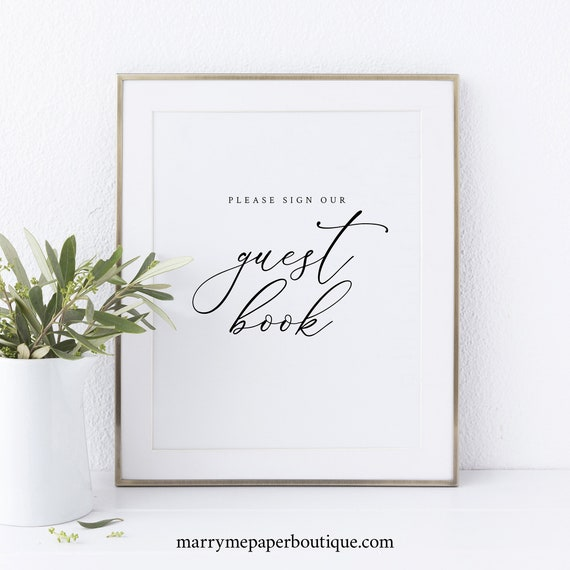 Guest Book Sign Template, Elegant & Refined, Wedding Sign Printable, Instant Download, Non-Editable
