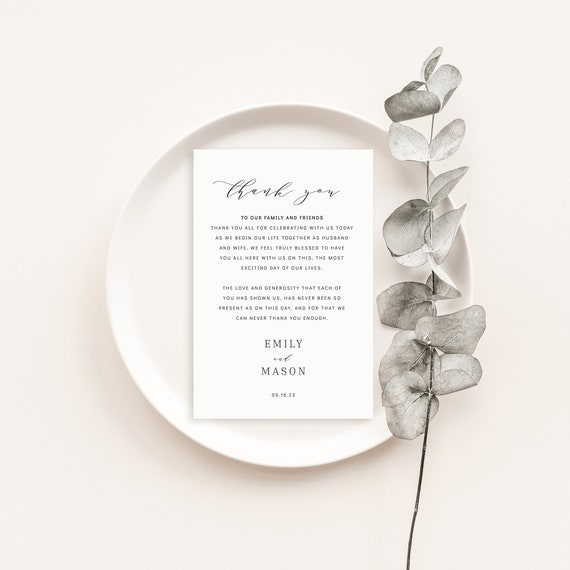 Wedding Thank You Note Template, Formal & Elegant, Thank You Card, Templett INSTANT Download, Printable, Fully Editable