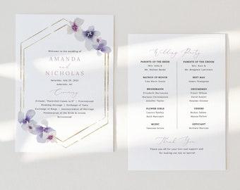 Wedding Program Template, Delicate Lilac Flowers, Wedding Ceremony Program, Printable, Editable, Purple Hydrangea, Templett INSTANT Download