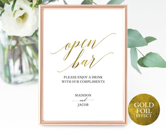 Faux Gold Open Bar Sign Template, Printable Wedding Bar Sign, Wedding Drinks Sign, Faux Gold Open Bar Sign, PDF Instant Download, MM07-3