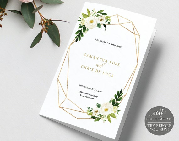 Catholic Wedding Program Template, Folded Editable, White Floral Geometric, Editable Instant Download, TRY BEFORE You BUY