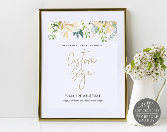 Create Multiple Signs Template, White & Gold Floral, TRY BEFORE You BUY, 100% Editable Instant Download