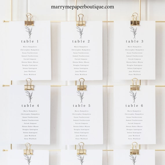 Modern Rustic Seating Chart Cards Template, Country Wedding Seating Cards Printable, Templett Editable, Instant Download
