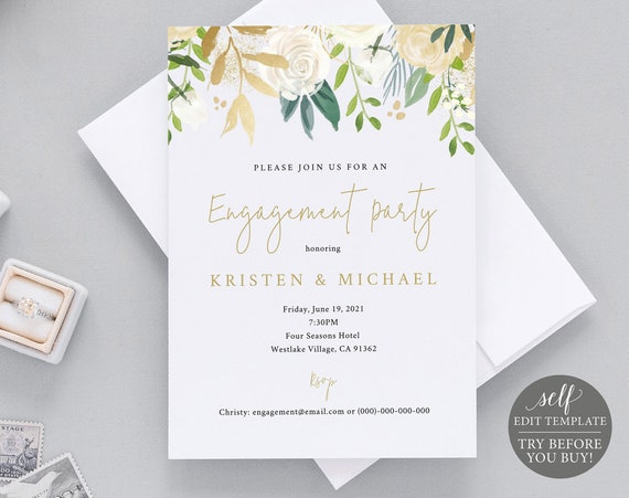 Engagement Party Invitation Template, TRY BEFORE You BUY, 100% Editable Instant Download, White & Gold Floral
