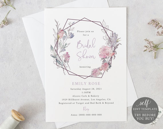 Bridal Shower Invitation Template, TRY BEFORE You BUY, 100% Editable Instant Download, Pink & Lilac Geometric