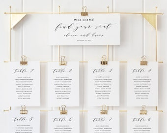 Seating Chart Sign Template, TRY BEFORE You BUY,  Editable Instant Download, Elegant Script