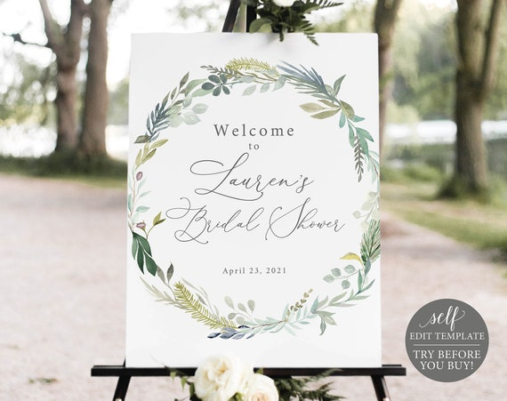 Bridal Shower Welcome Sign Template, Greenery & Blue, Printable Editable Instant Download, Demo Available
