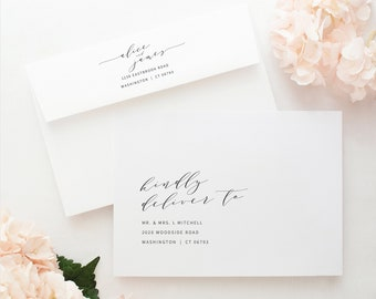 Elegant Envelope Address Template, Modern Wedding Envelope Address Printable, Templett Editable, Instant Download