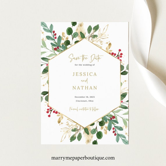 Save the Date Card Template, Winter Wedding, Printable, Save Our Date, Templett, Holly Berries, Hexagon, Editable, INSTANT Download
