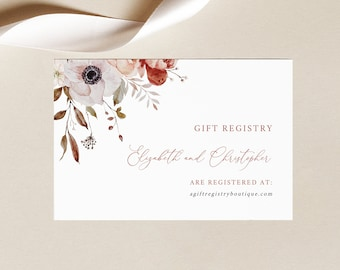 Wedding Gift Registry Card Template, Fall Floral, Wedding Registry Card, Printable, Editable, Fall Wedding, Templett INSTANT Download