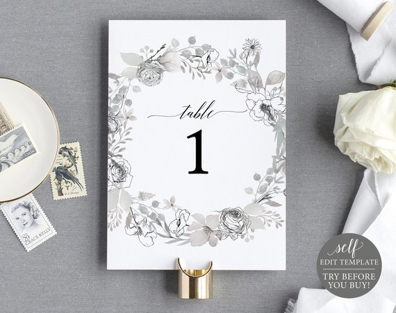 Table Number Template, Free Demo Available, Neutral Floral, Editable Instant Download