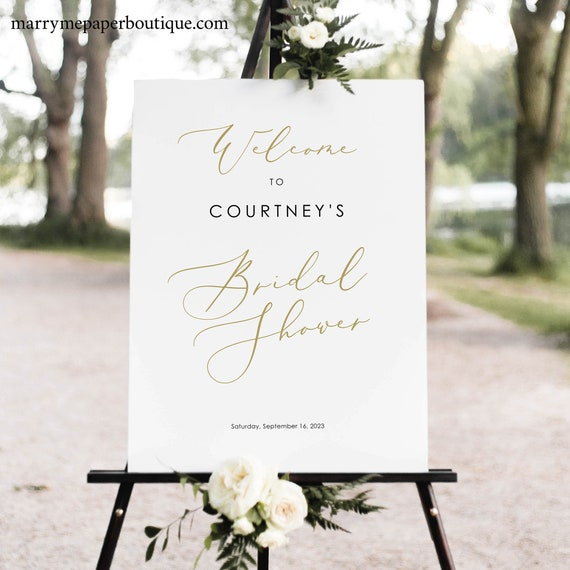 Bridal Shower Welcome Sign Template, Elegant Gold Script, Bridal Shower Sign, Printable, Templett, 100% Editable, INSTANT Download