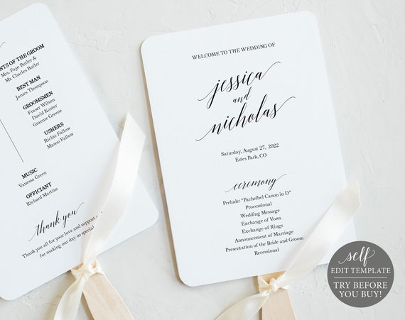 Wedding Program Fan Template, Calligraphy, TRY BEFORE You BUY, 100% Editable Instant Download