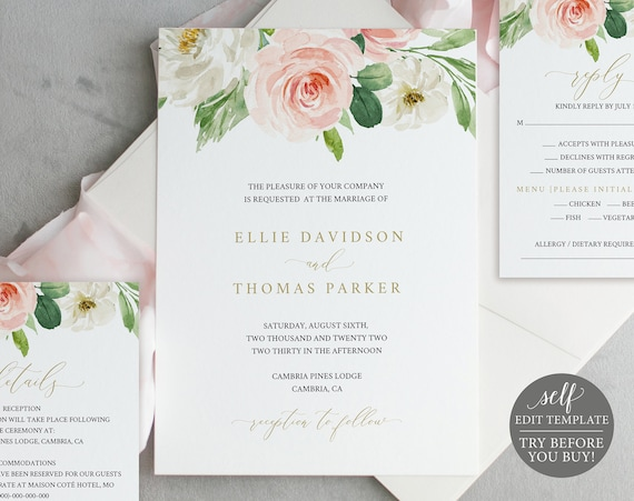 Wedding Invitation Set, Blush Floral Editable Template, Instant Download, TRY BEFORE You BUY