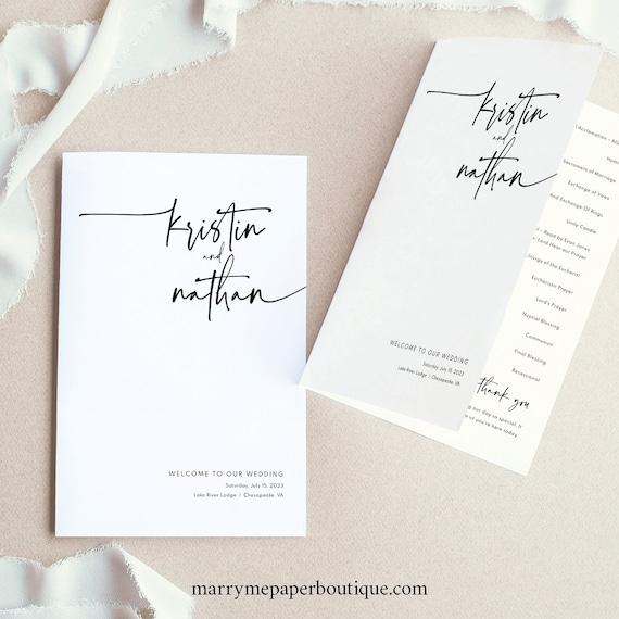 Wedding Program Template, Folding, Modern Contemporary, Clean Simple Wedding Ceremony Program, Printable, Templett INSTANT Download